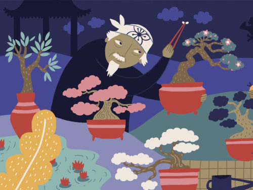 asian garden illustration