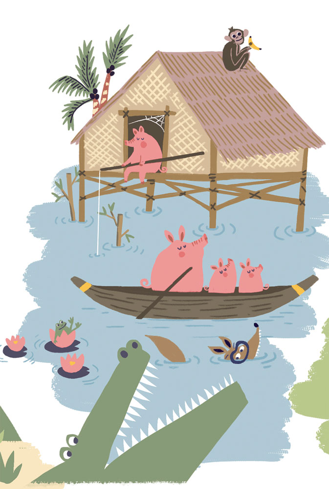 pigs - kids illustration- namka